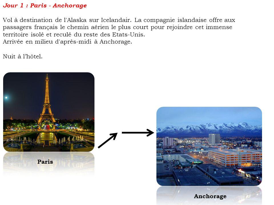 Jour 1 : Paris - Anchorage Vol à destination de l'Alaska sur Icelandair. La compagnie islandaise offre aux passagers français le chemin aérien le plus