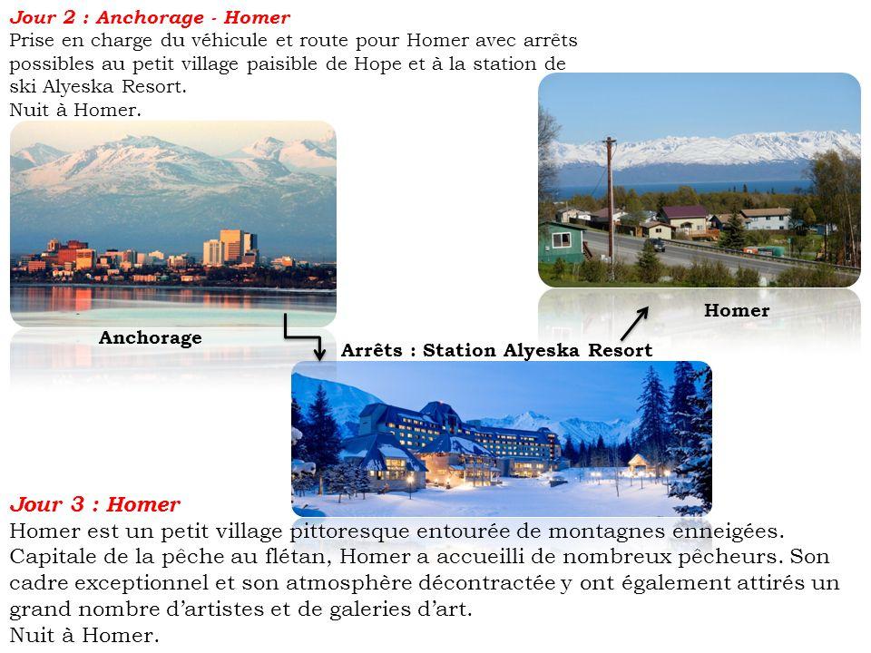 Jour 2 : Anchorage - Homer Prise en charge du véhicule et route pour Homer avec arrêts possibles au petit village paisible de Hope et à la station de