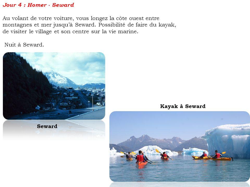 Jour 4 : Homer - Seward Au volant de votre voiture, vous longez la côte ouest entre montagnes et mer jusquà Seward. Possibilité de faire du kayak, de