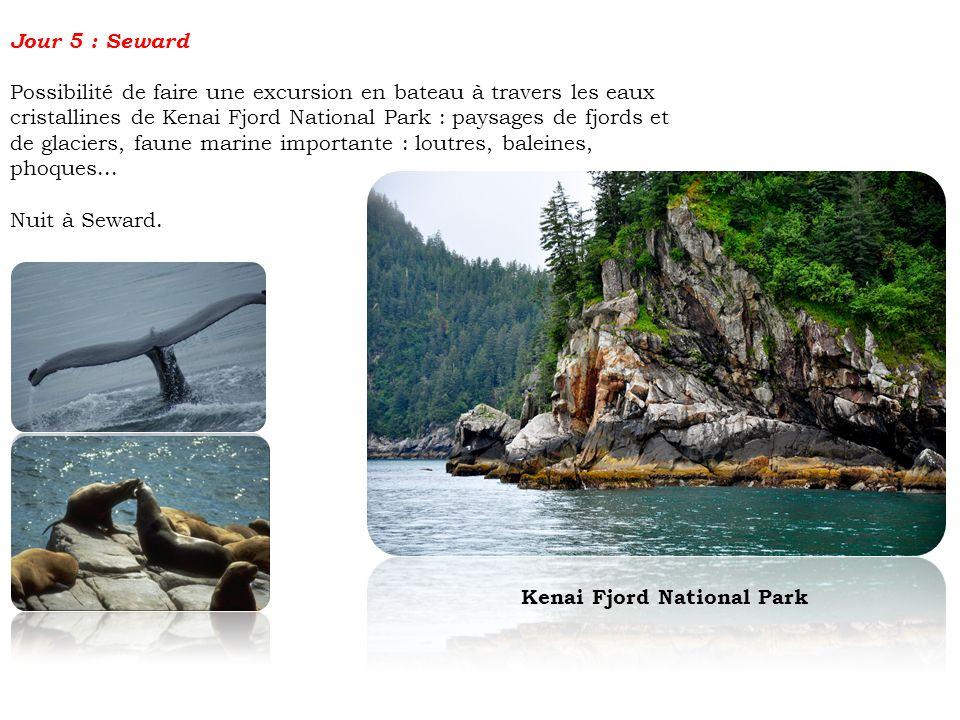 Jour 5 : Seward Possibilité de faire une excursion en bateau à travers les eaux cristallines de Kenai Fjord National Park : paysages de fjords et de g