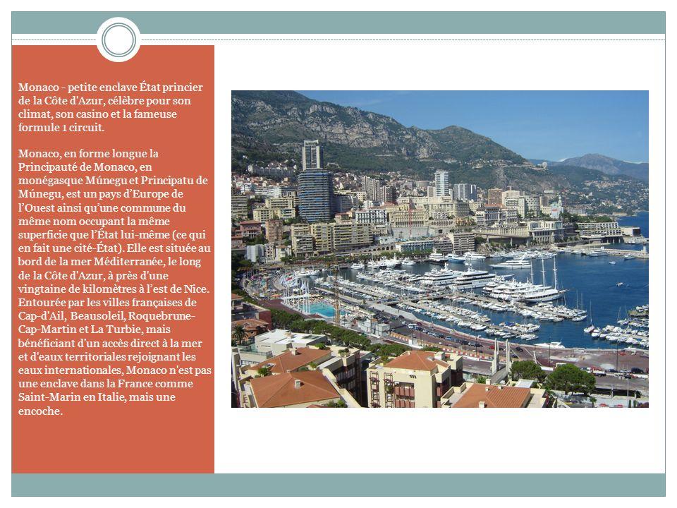 Monaco - petite enclave État princier de la Côte d'Azur, célèbre pour son climat, son casino et la fameuse formule 1 circuit. Monaco, en forme longue