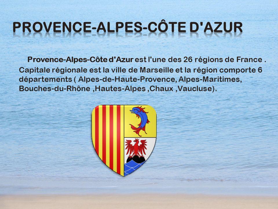 Provence-Alpes-Côte d'Azur est l'une des 26 régions de France. Capitale régionale est la ville de Marseille et la région comporte 6 départements ( Alp