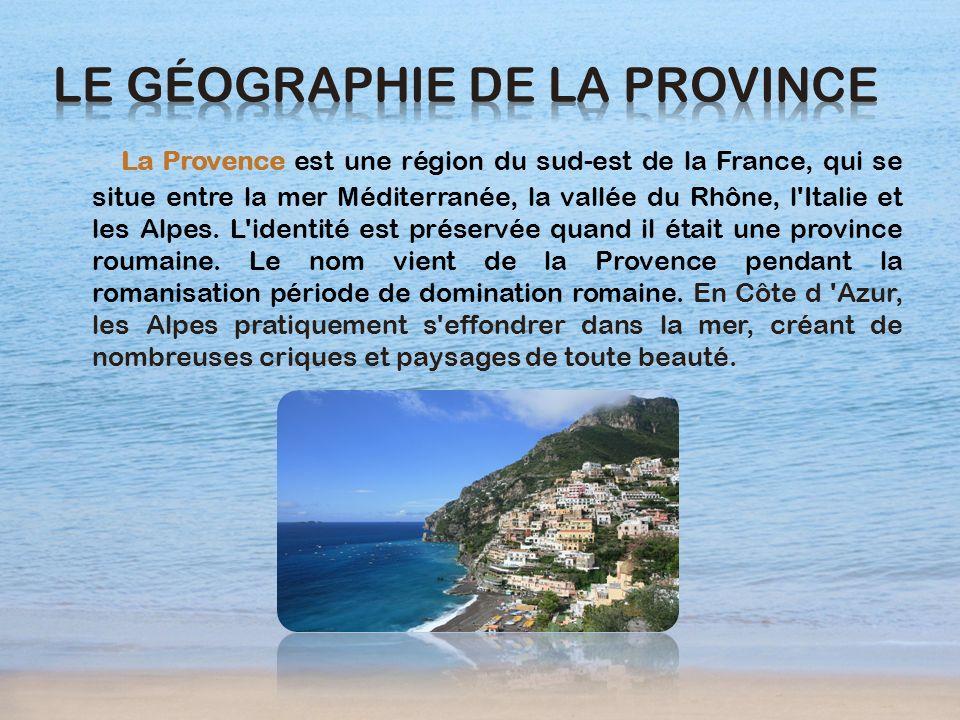La Provence est une région du sud-est de la France, qui se situe entre la mer Méditerranée, la vallée du Rhône, l'Italie et les Alpes. L'identité est