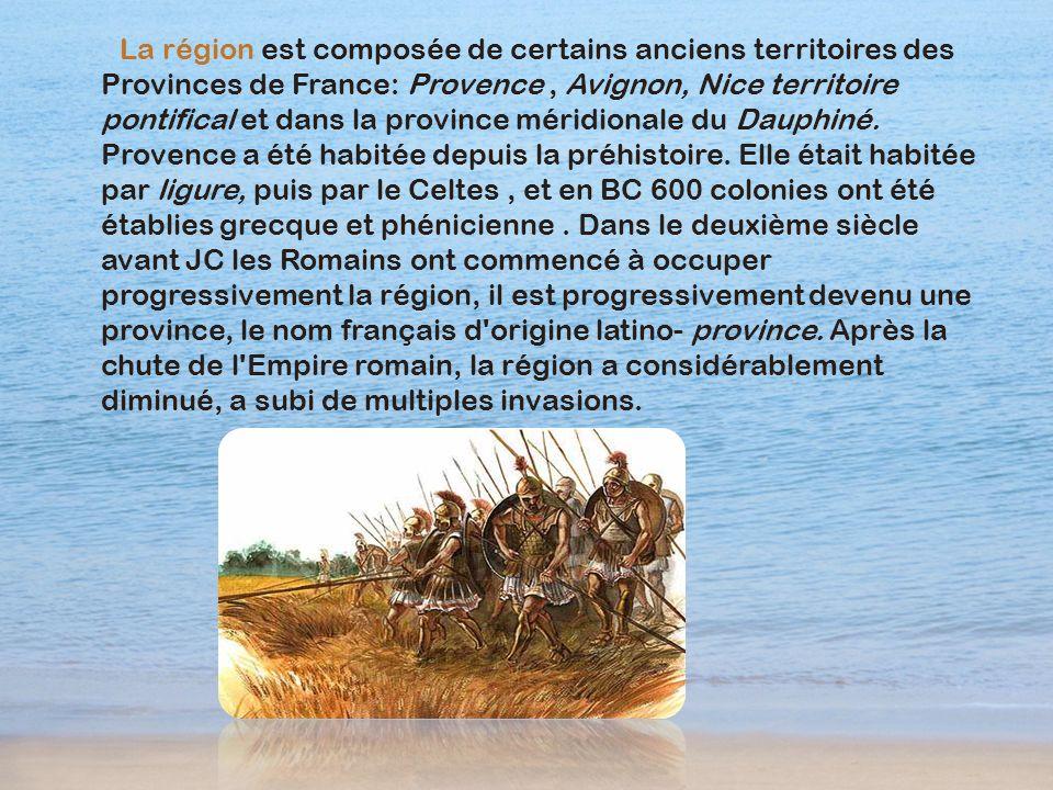 La région est composée de certains anciens territoires des Provinces de France: Provence, Avignon, Nice territoire pontifical et dans la province méri