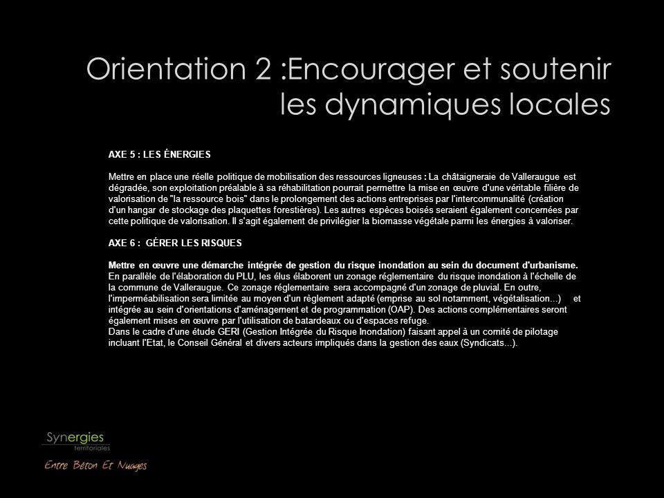 Orientation 2 :Encourager et soutenir les dynamiques locales AXE 5 : LES ÉNERGIES Mettre en place une réelle politique de mobilisation des ressources
