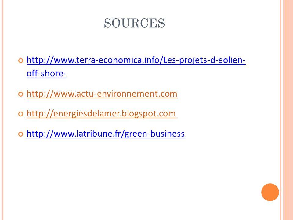 SOURCES http://www.terra-economica.info/Les-projets-d-eolien- off-shore- http://www.actu-environnement.com http://energiesdelamer.blogspot.com http://