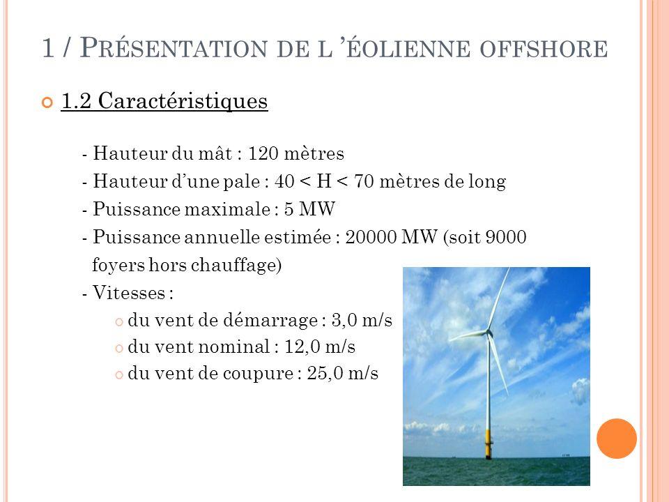1 / P RÉSENTATION DE L ÉOLIENNE OFFSHORE 1.2 Caractéristiques - Hauteur du mât : 120 mètres - Hauteur dune pale : 40 < H < 70 mètres de long - Puissan