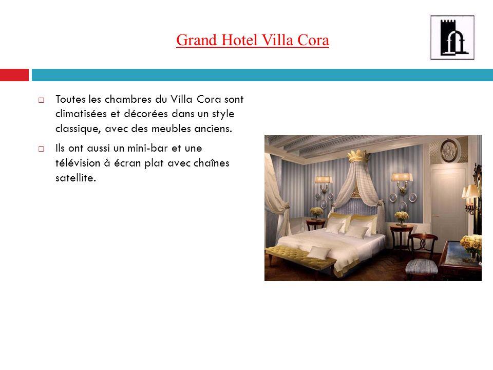 Grand Hotel Villa Cora Toutes les chambres du Villa Cora sont climatisées et décorées dans un style classique, avec des meubles anciens. Ils ont aussi