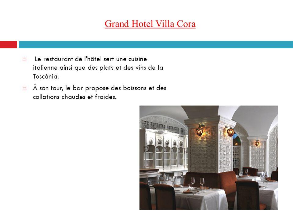 Grand Hotel Villa Cora Le restaurant de l'hôtel sert une cuisine italienne ainsi que des plats et des vins de la Toscânia. À son tour, le bar propose