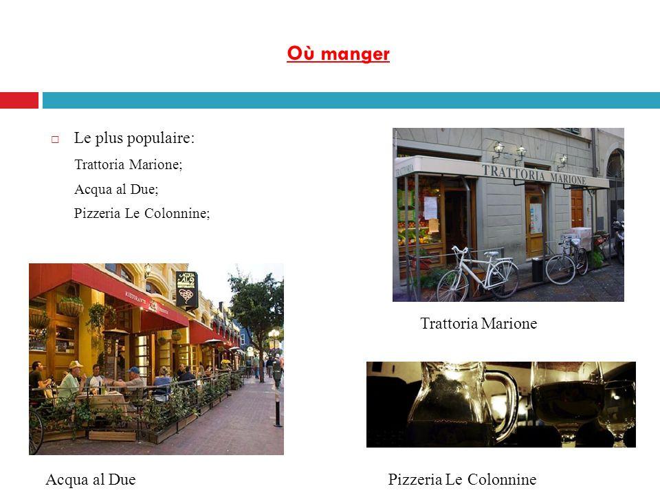 Où manger Le plus populaire: Trattoria Marione; Acqua al Due; Pizzeria Le Colonnine; Trattoria Marione Acqua al DuePizzeria Le Colonnine