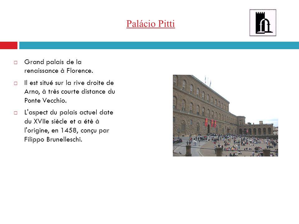 Palácio Pitti Grand palais de la renaissance à Florence. Il est situé sur la rive droite de Arno, à très courte distance du Ponte Vecchio. L'aspect du