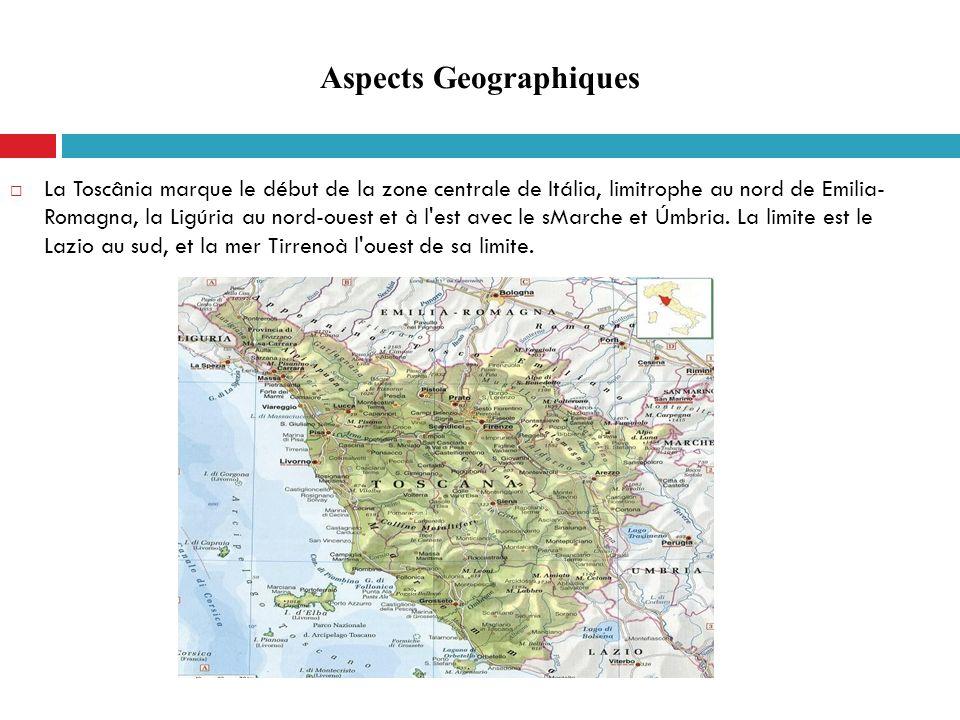 La Toscânia marque le début de la zone centrale de Itália, limitrophe au nord de Emilia- Romagna, la Ligúria au nord-ouest et à l'est avec le sMarche