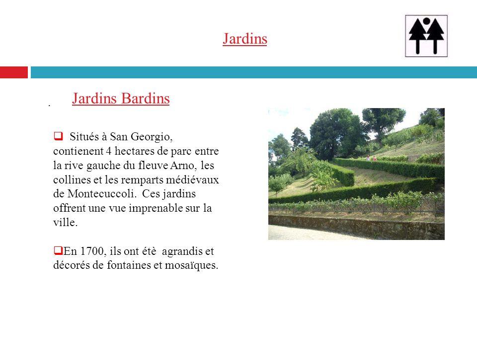 Jardins. Situés à San Georgio, contienent 4 hectares de parc entre la rive gauche du fleuve Arno, les collines et les remparts médiévaux de Montecucco