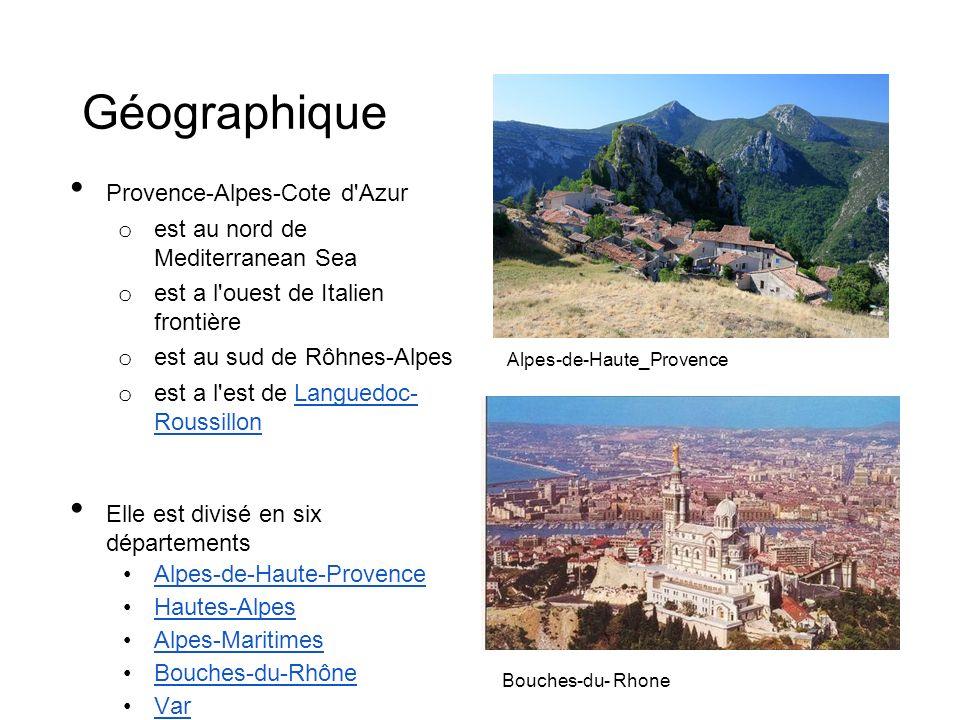Géographique Provence-Alpes-Cote d'Azur o est au nord de Mediterranean Sea o est a l'ouest de Italien frontière o est au sud de Rôhnes-Alpes o est a l