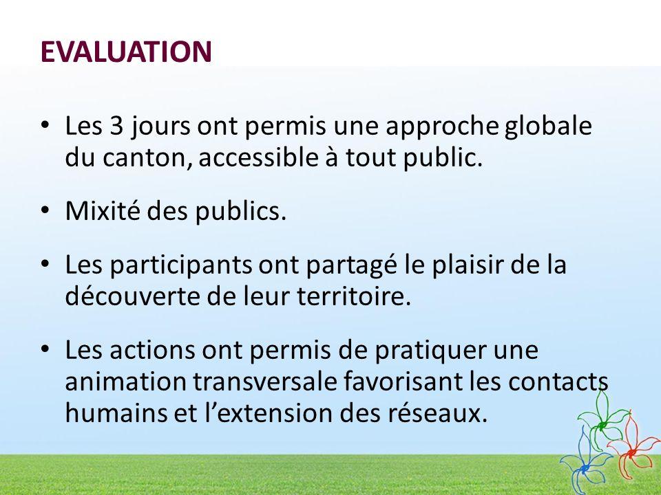 EVALUATION Les 3 jours ont permis une approche globale du canton, accessible à tout public.
