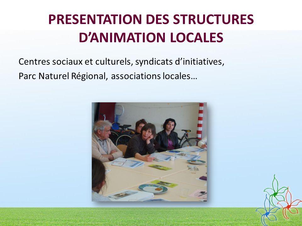 PRESENTATION DES STRUCTURES DANIMATION LOCALES Centres sociaux et culturels, syndicats dinitiatives, Parc Naturel Régional, associations locales…