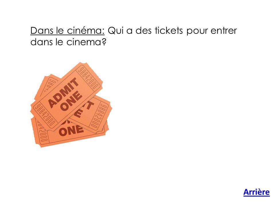 Arrière Dans le cinéma: Qui a des tickets pour entrer dans le cinema?