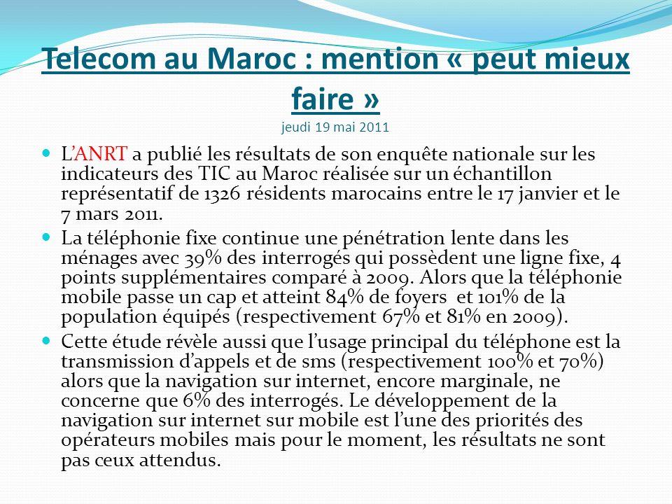 Telecom au Maroc : mention « peut mieux faire » jeudi 19 mai 2011 LANRT a publié les résultats de son enquête nationale sur les indicateurs des TIC au