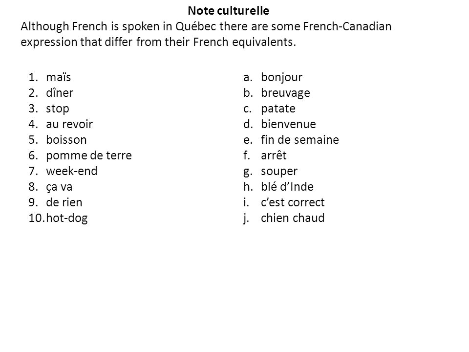 Note culturelle Although French is spoken in Québec there are some French-Canadian expression that differ from their French equivalents.