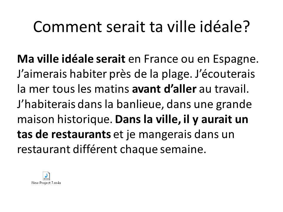 Comment serait ta ville idéale.Ma ville idéale serait en France ou en Espagne.