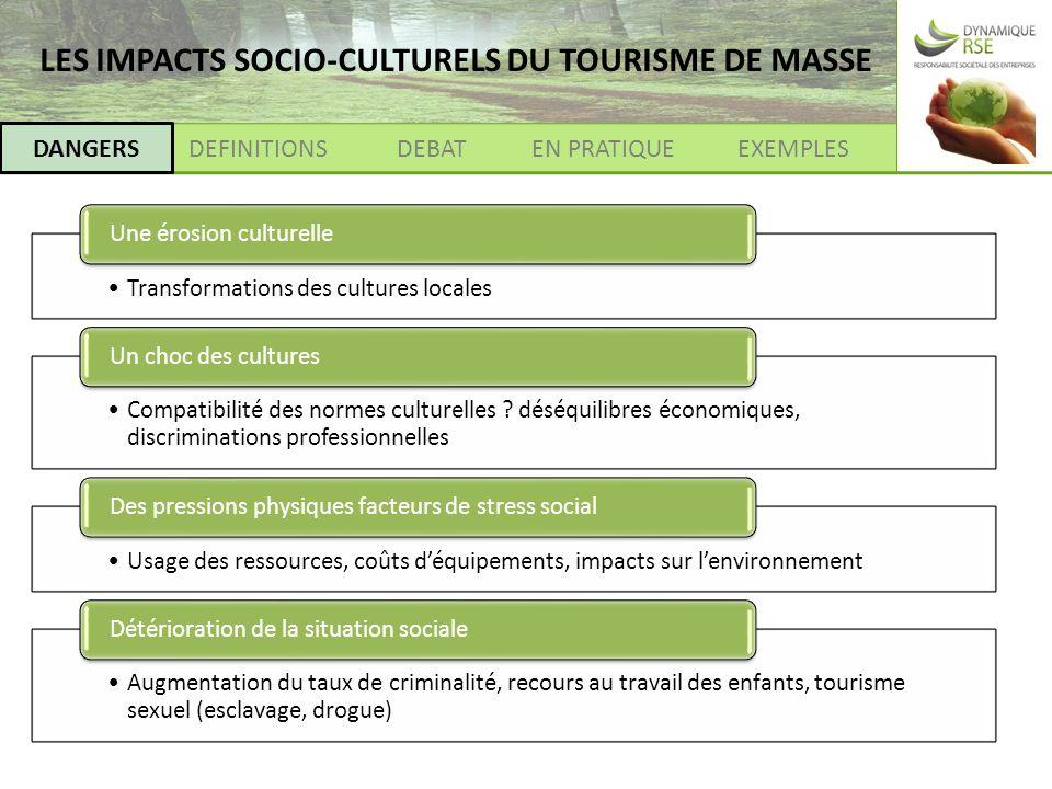 DANGERSDEFINITIONSEXEMPLESEN PRATIQUEDEBAT DANGERS Transformations des cultures locales Une érosion culturelle Compatibilité des normes culturelles .
