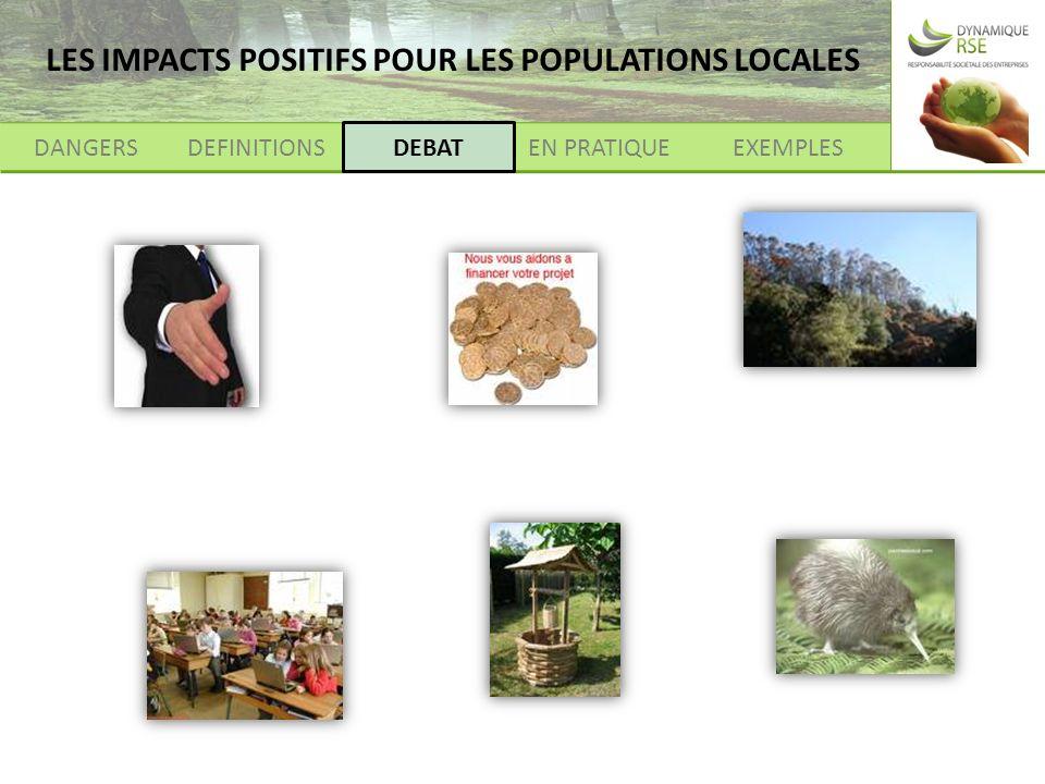 DANGERSDEFINITIONSEXEMPLESEN PRATIQUEDEBAT LES IMPACTS POSITIFS POUR LES POPULATIONS LOCALES