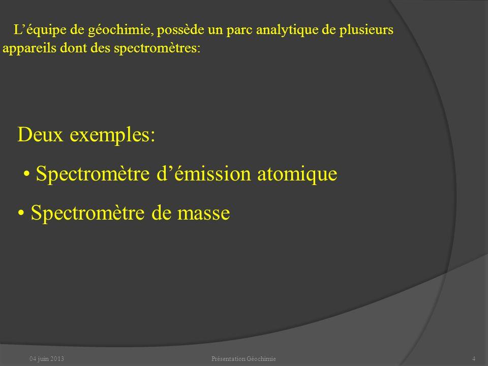 04 juin 2013Présentation Géochimie4 Léquipe de géochimie, possède un parc analytique de plusieurs appareils dont des spectromètres: Deux exemples: Spectromètre démission atomique Spectromètre de masse