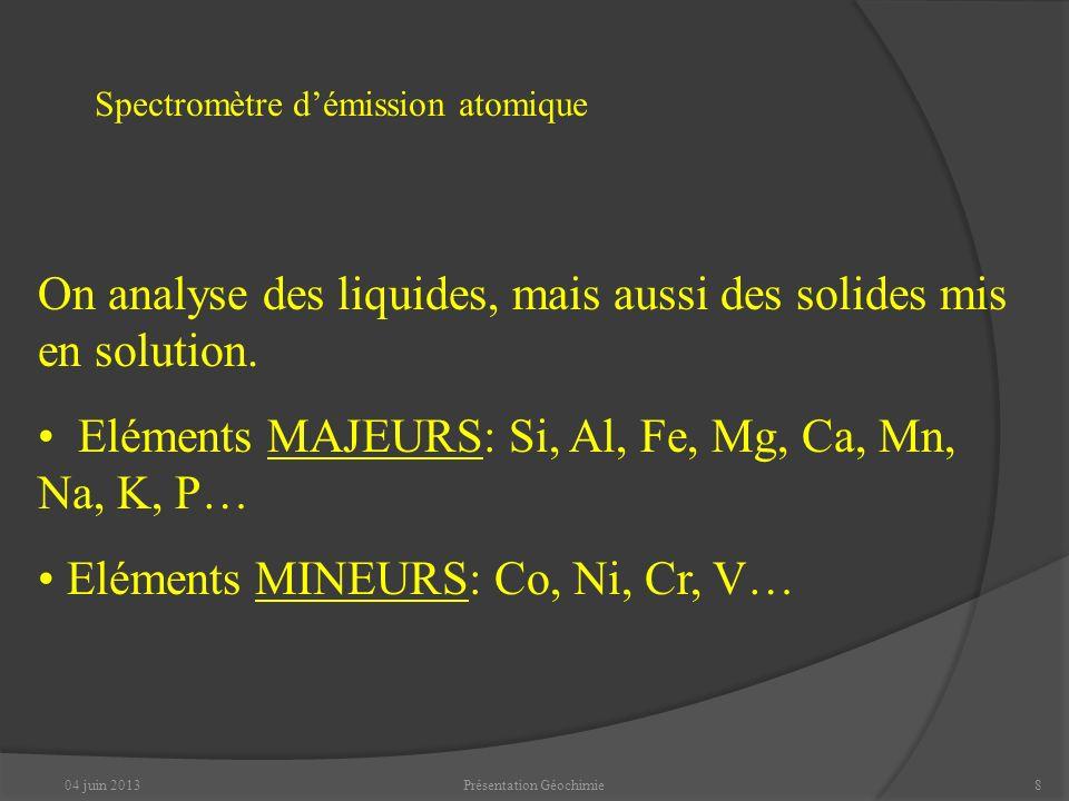 04 juin 2013Présentation Géochimie8 Spectromètre démission atomique On analyse des liquides, mais aussi des solides mis en solution.