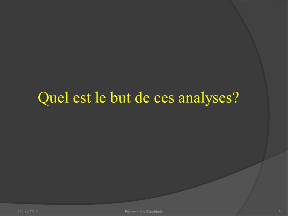 Quel est le but de ces analyses? 04 juin 20139Présentation Géochimie