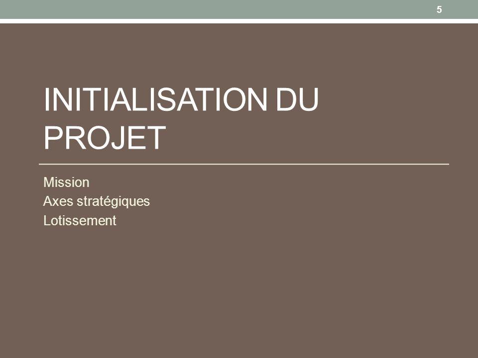 INITIALISATION DU PROJET Mission Axes stratégiques Lotissement 5