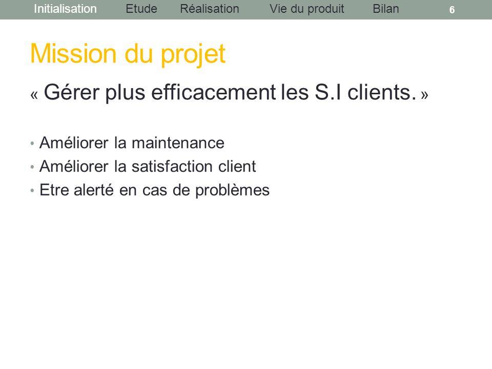 InitialisationEtudeRéalisationBilanVie du produit Mission du projet « Gérer plus efficacement les S.I clients. » Améliorer la maintenance Améliorer la