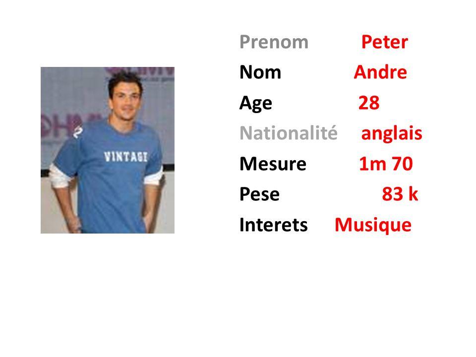 Prenom Peter Nom Andre Age 28 Nationalité anglais Mesure 1m 70 Pese83 k InteretsMusique
