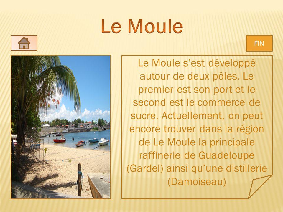 Le Moule sest développé autour de deux pôles. Le premier est son port et le second est le commerce de sucre. Actuellement, on peut encore trouver dans