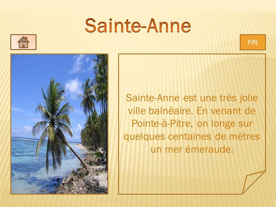 Sainte-Anne est une très jolie ville balnéaire. En venant de Pointe-à-Pitre, on longe sur quelques centaines de mètres un mer émeraude. FIN