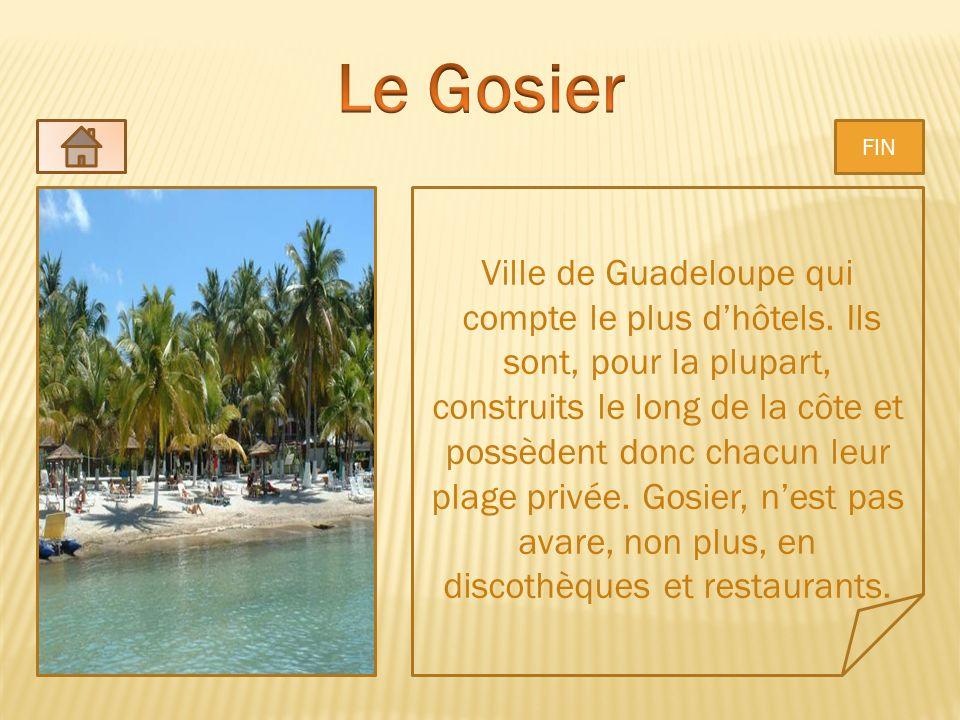 Ville de Guadeloupe qui compte le plus dhôtels. Ils sont, pour la plupart, construits le long de la côte et possèdent donc chacun leur plage privée. G