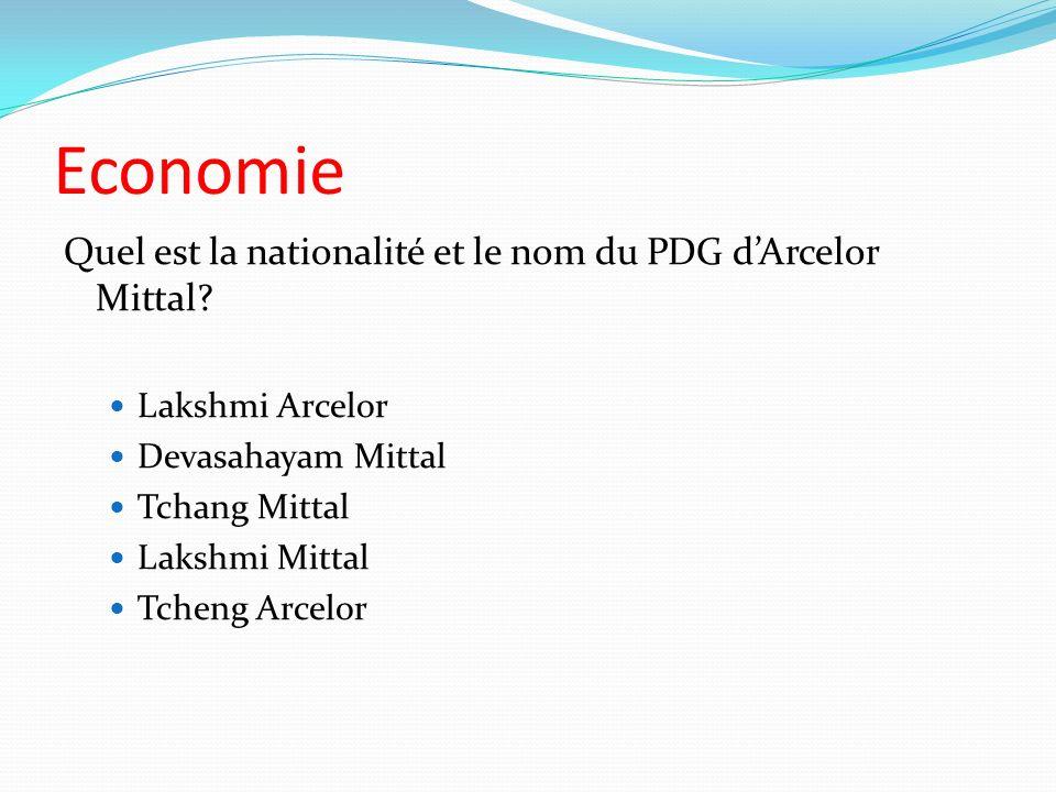Economie Quel est la nationalité et le nom du PDG dArcelor Mittal? Lakshmi Arcelor Devasahayam Mittal Tchang Mittal Lakshmi Mittal Tcheng Arcelor
