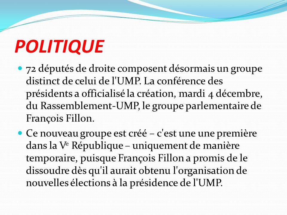 POLITIQUE 72 députés de droite composent désormais un groupe distinct de celui de l UMP.
