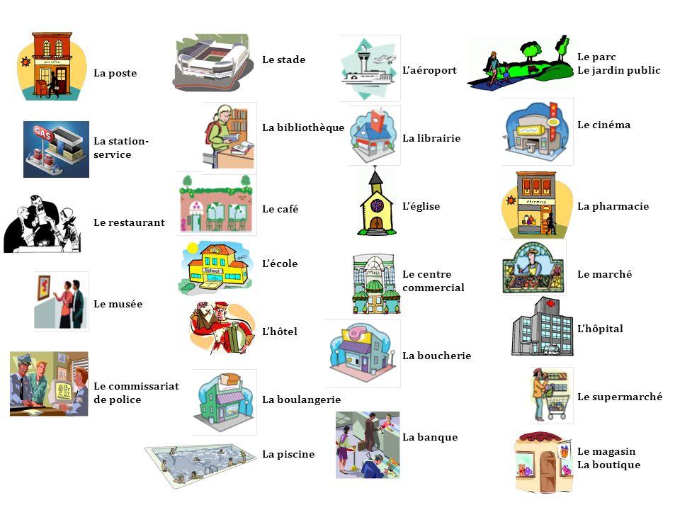 La poste La station- service Le restaurant Le musée Le commissariat de police Le stade La bibliothèque Le café Lécole Lhôtel La boulangerie La piscine