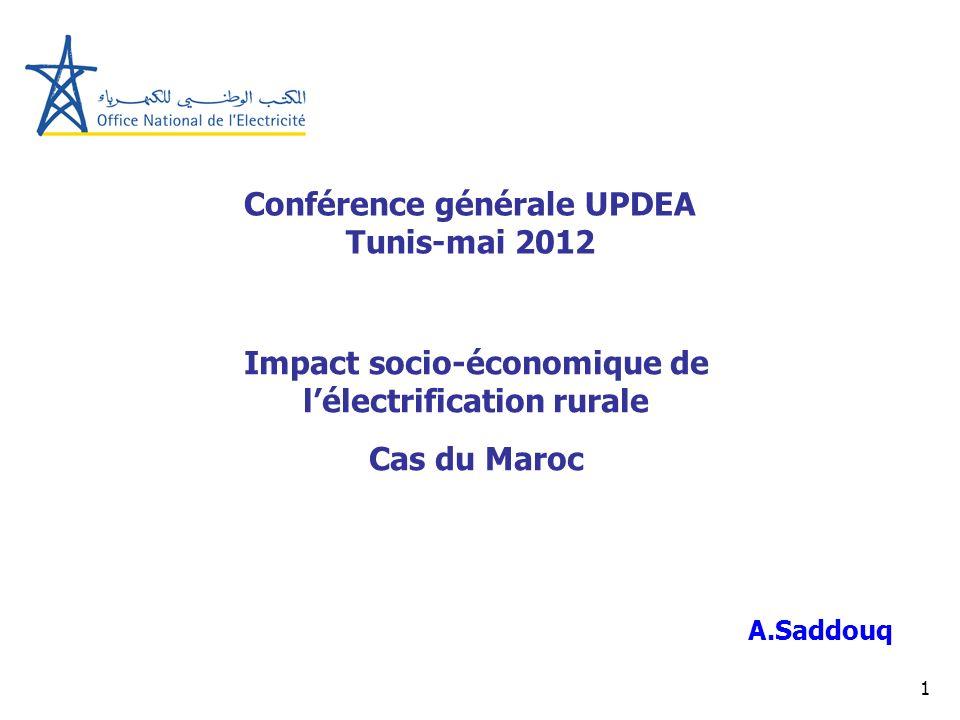 1 Conférence générale UPDEA Tunis-mai 2012 A.Saddouq Impact socio-économique de lélectrification rurale Cas du Maroc
