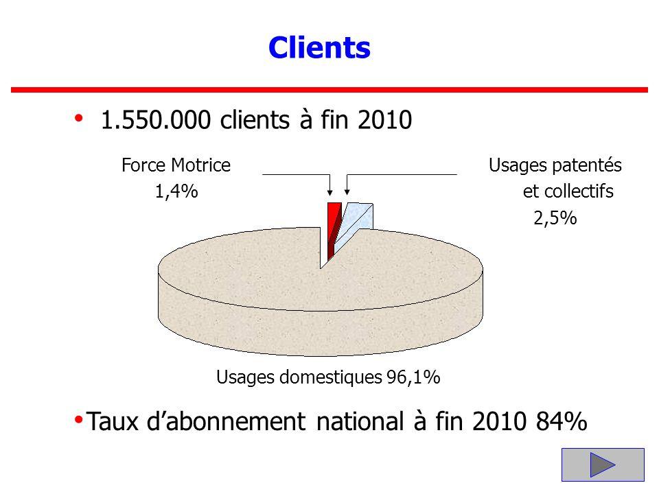 12 Clients 1.550.000 clients à fin 2010 Force Motrice 1,4% Usages patentés et collectifs 2,5% Taux dabonnement national à fin 2010 84% Usages domestiq