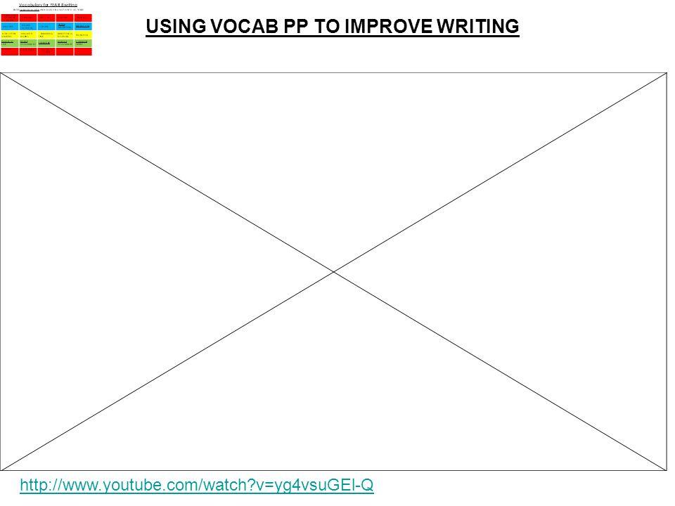 USING VOCAB PP TO IMPROVE WRITING http://www.youtube.com/watch?v=yg4vsuG El-Q
