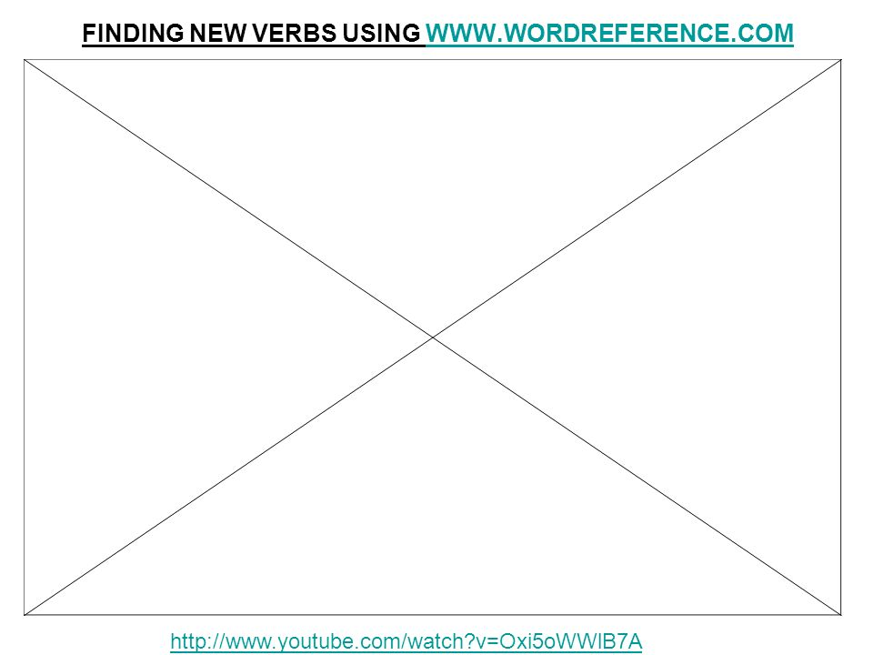 FINDING NEW VERBS USING WWW.WORDREFERENCE.COMWWW.WORDREFERENCE.COM http://www.youtube.com/watch?v=Oxi5oWWlB7A