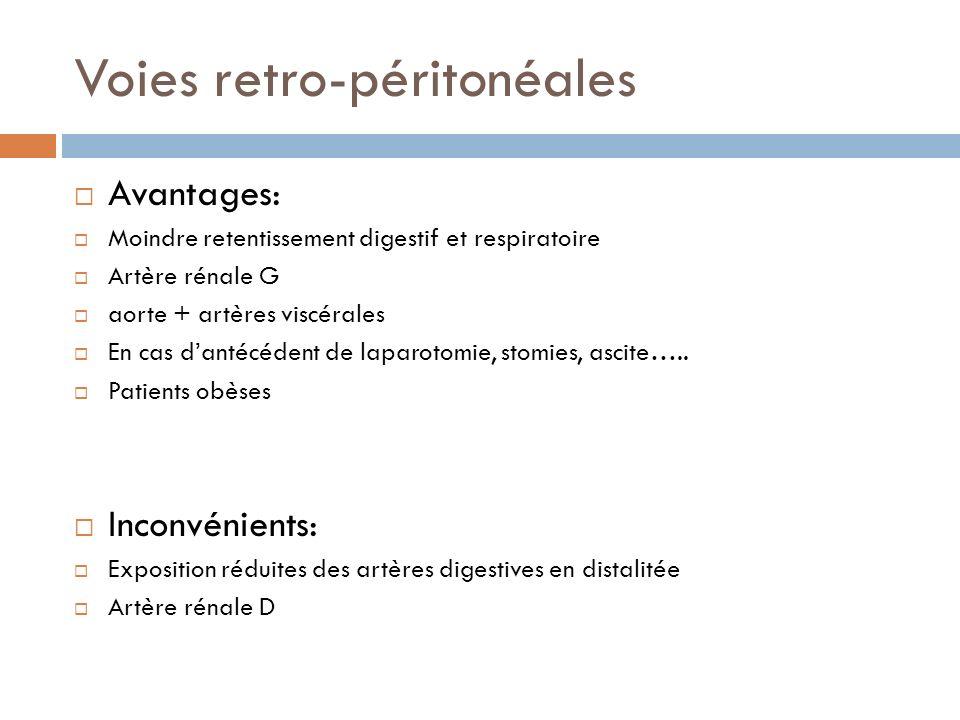 Voies retro-péritonéales Avantages: Moindre retentissement digestif et respiratoire Artère rénale G aorte + artères viscérales En cas dantécédent de l