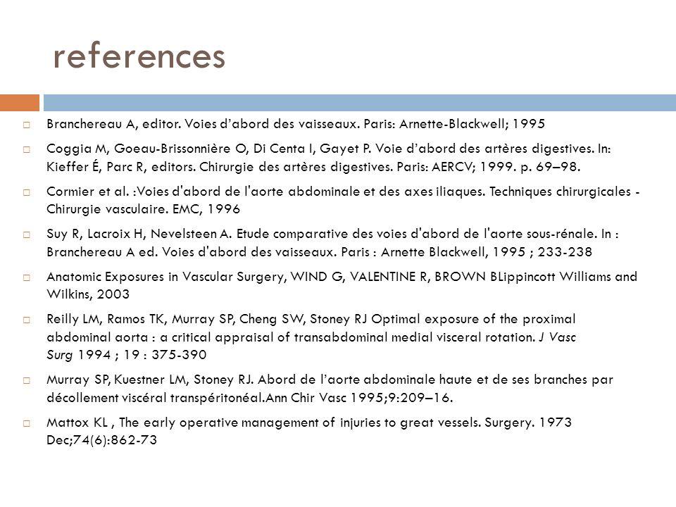 references Branchereau A, editor. Voies dabord des vaisseaux. Paris: Arnette-Blackwell; 1995 Coggia M, Goeau-Brissonnière O, Di Centa I, Gayet P. Voie