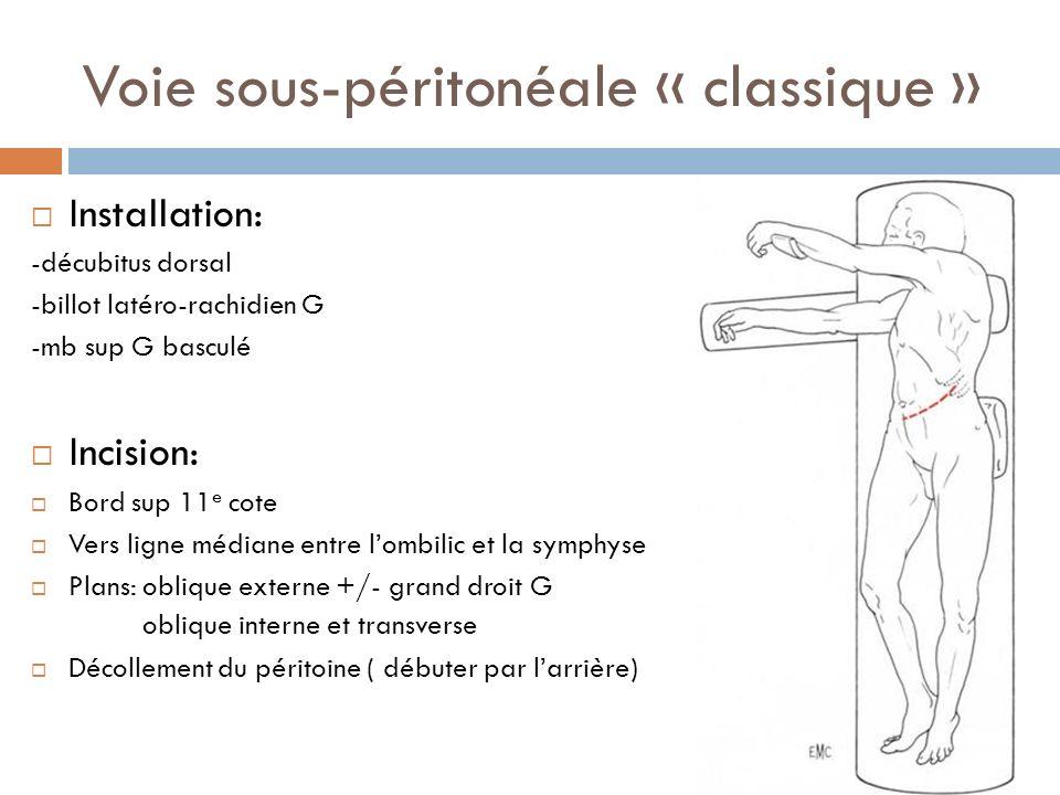 Voie sous-péritonéale « classique » Installation: -décubitus dorsal -billot latéro-rachidien G -mb sup G basculé Incision: Bord sup 11 e cote Vers lig