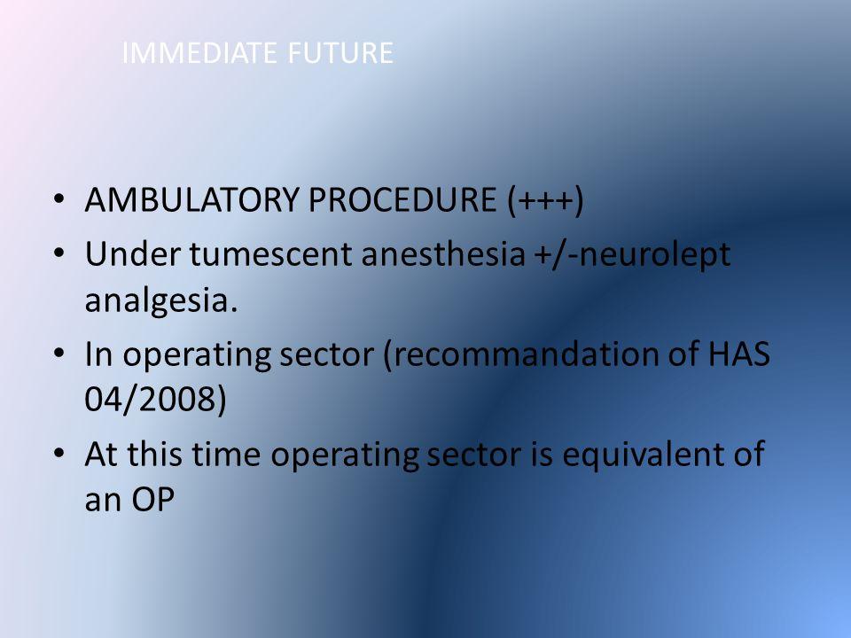 IMMEDIATE FUTURE AMBULATORY PROCEDURE (+++) Under tumescent anesthesia +/-neurolept analgesia.
