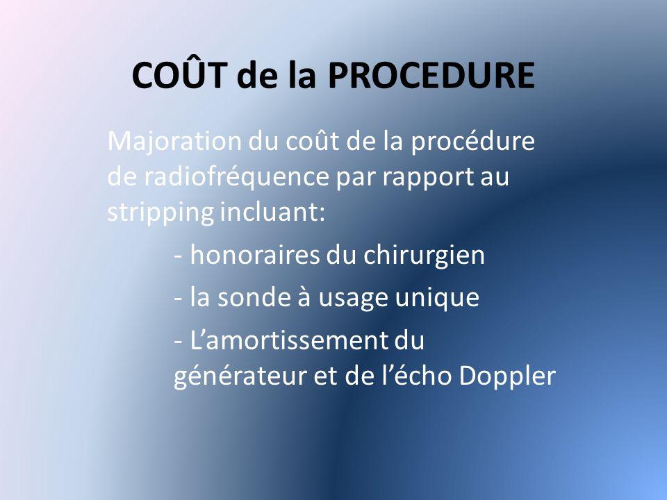 COÛT de la PROCEDURE Majoration du coût de la procédure de radiofréquence par rapport au stripping incluant: - honoraires du chirurgien - la sonde à usage unique - Lamortissement du générateur et de lécho Doppler