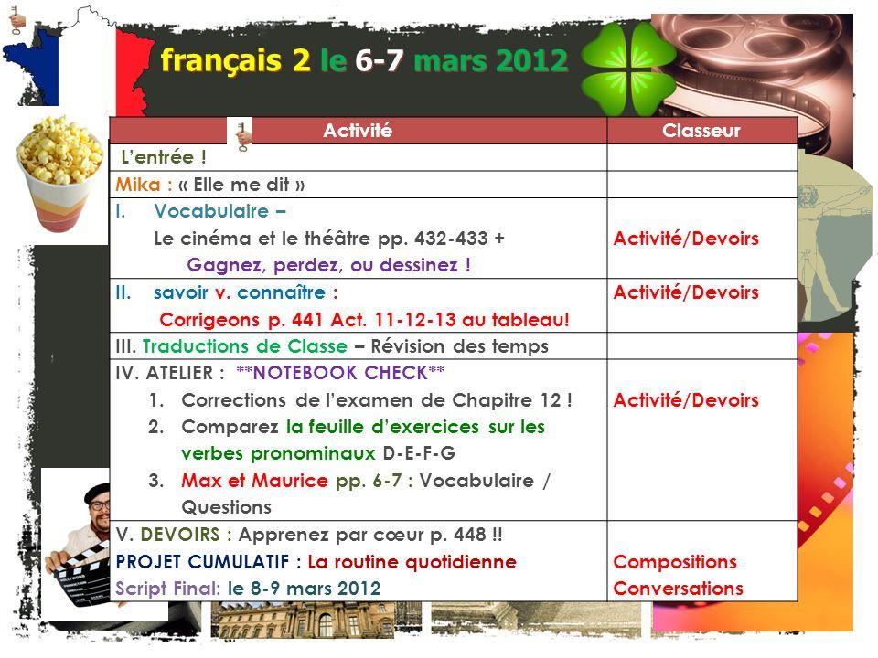 français 5H le 6-7 mars 2012 ActivitéClasseur Pas dentrée .