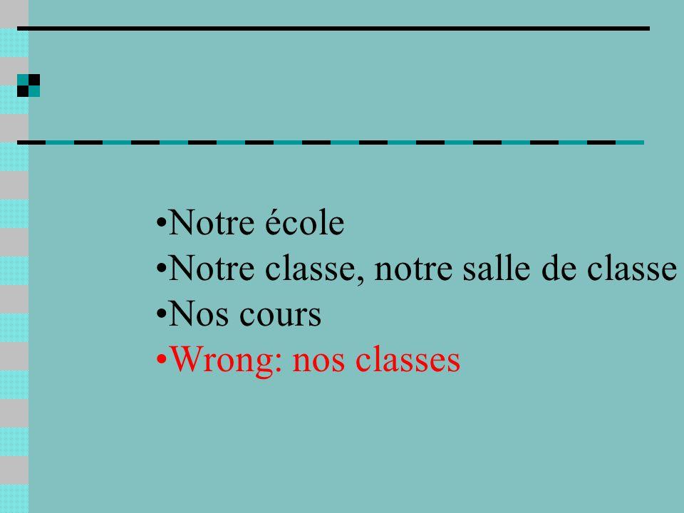 Notre école Notre classe, notre salle de classe Nos cours Wrong: nos classes