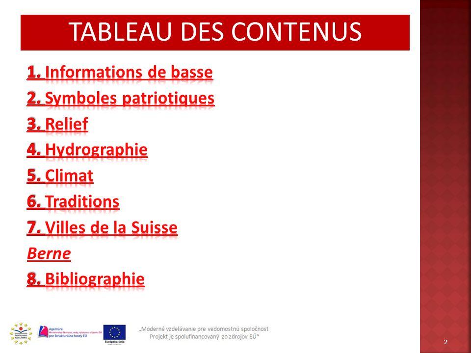 TABLEAU DES CONTENUS 2